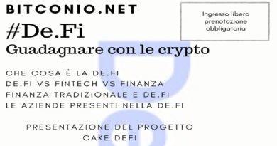 De.Fi Guadagnare con le crypto. EVENTO PUBBLICO GIOVEDI 28 NOV. ORE 19.30