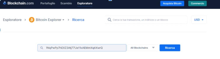 la blockchain è pubblica ecco una transazione